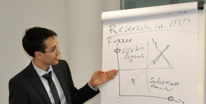 Flipchart mit dem Thema Research IMP